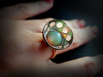 Zelta un oksidēta sudraba gredzens ar opālu, Ø16,5