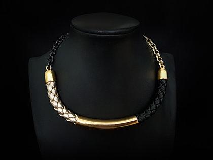 Ādas kaklarota (melns, zelts ar zeltu)