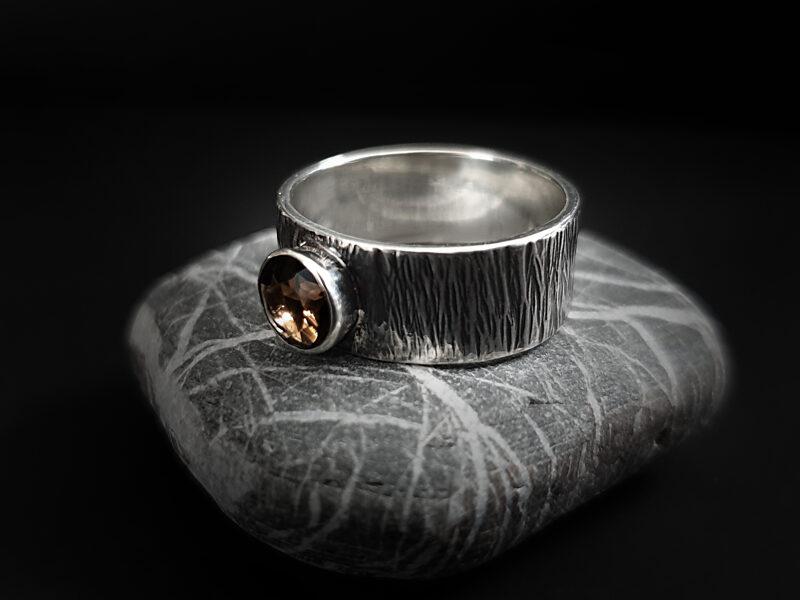 Oksidēts sudraba gredzens ar dūmu kvarcu, Ø16,8