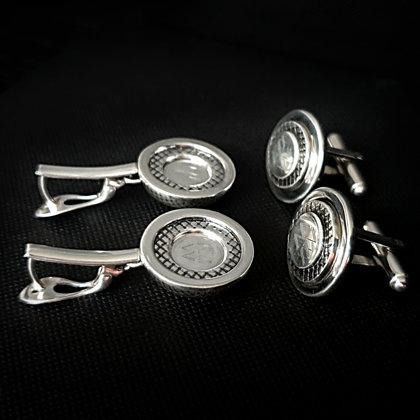 Серебряные серьги и запонки на серебряную свадьбу
