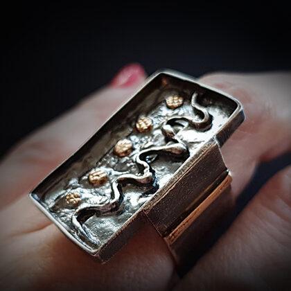 Кольцо из оксидированного серебра с золотыми элементами