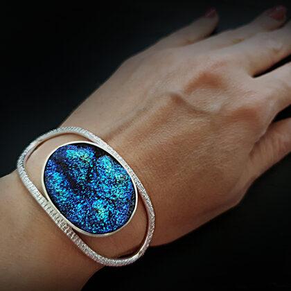 Серебряный браслет с друзой агата с титановым покрытием