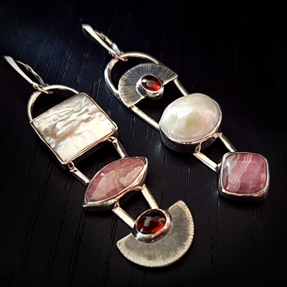 Sterling silver earrings with rhodochrosites, hessonites and pearls.
