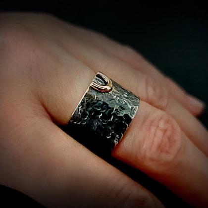 """Oksidēts sudraba gredzens ar zelta """"laimes pakaviņu"""""""