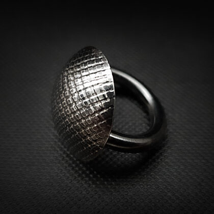 Oxidized sterling silver ring with texture