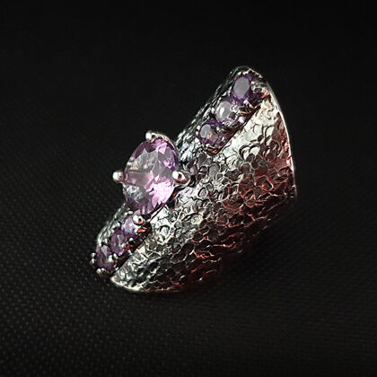 Oxidized sterling silver ring with 7 amethysts